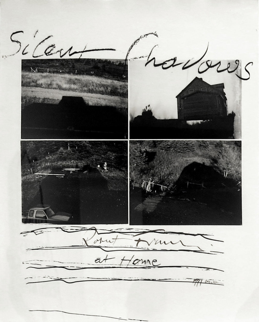 Robert Frank,  Silent Shadows, Mabou,  gelatin silver print enlarged from 4 Polaroid negatives, with text, 22 3/4h x 18 3/4w in.