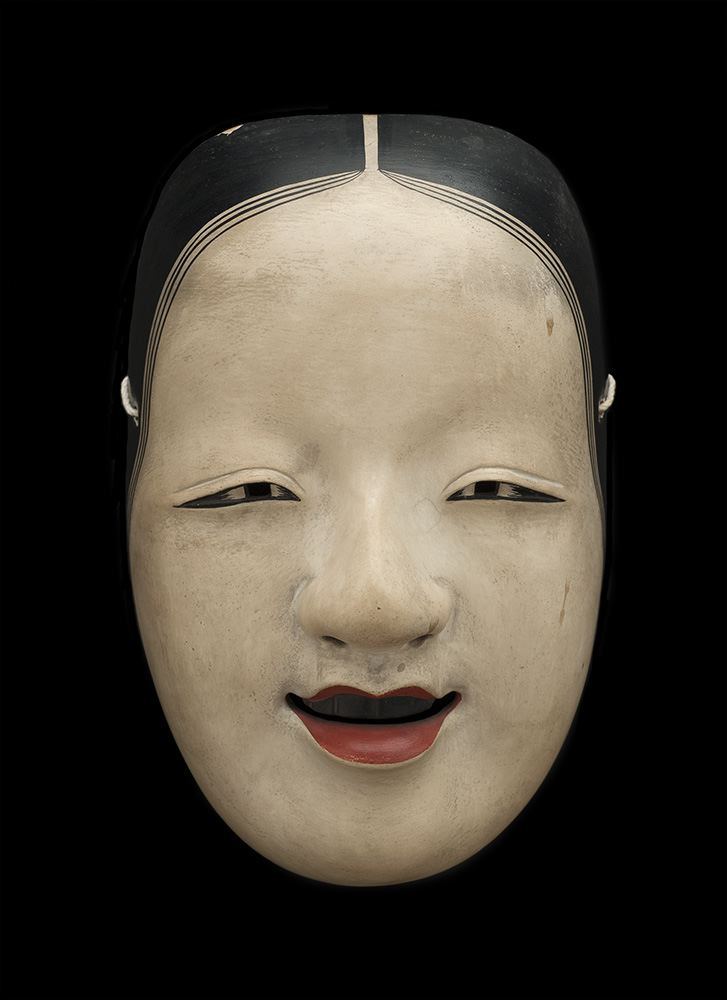 Japanese Anonymous,  Japan- Nah Mask, Omi Onna,  19th c., Lacquered wood, 8 1/4h x 5 1/4w x 3d in.