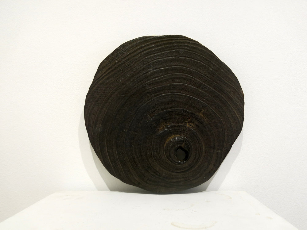 Japanese Anonymous, 19th c., wood, hand carved object, 13 1/4h x 13w x 1d in.