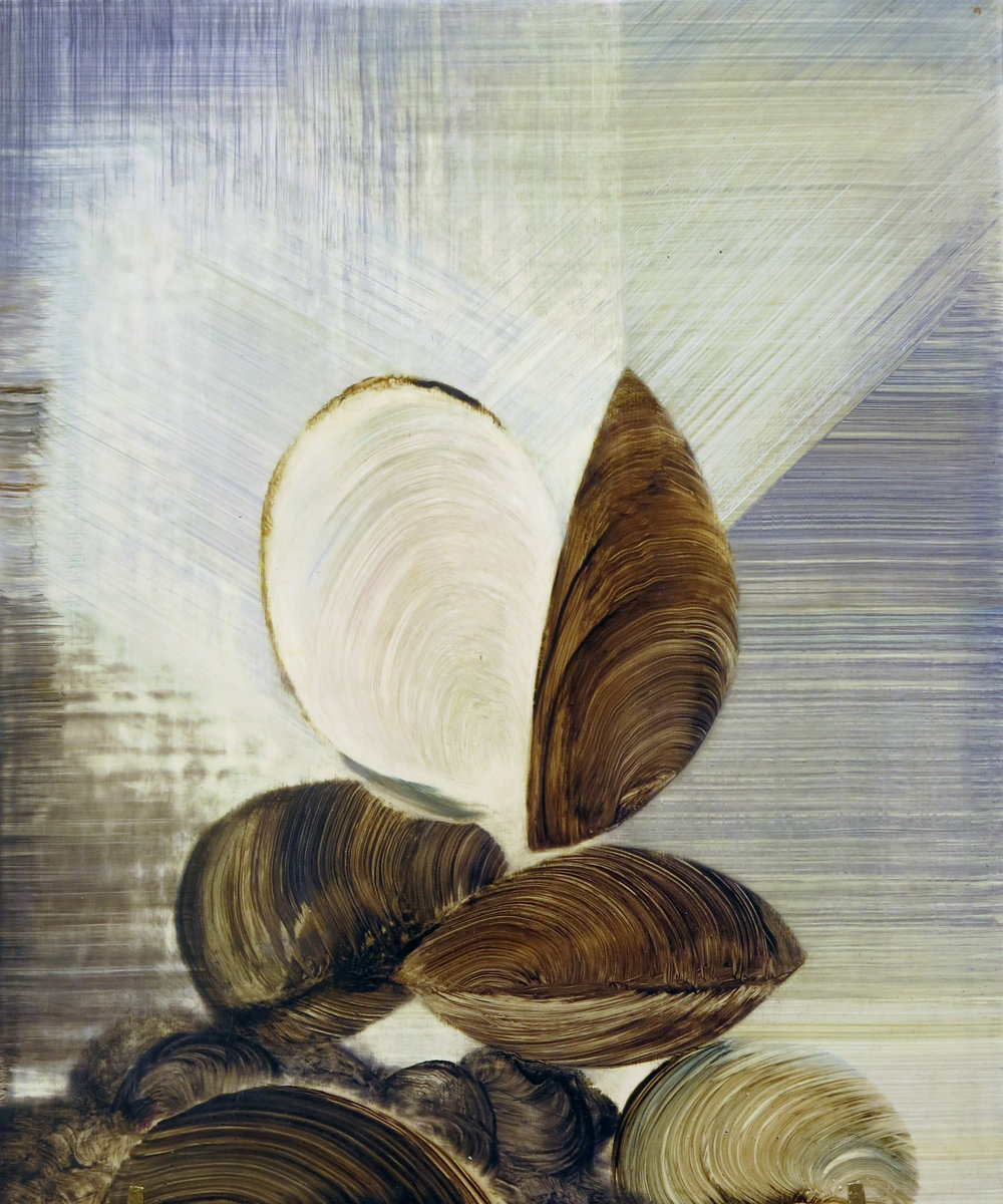 Shawn Spencer, Shell Stack Prismatics, 2017, Oil on panel, 11h x 9w in.