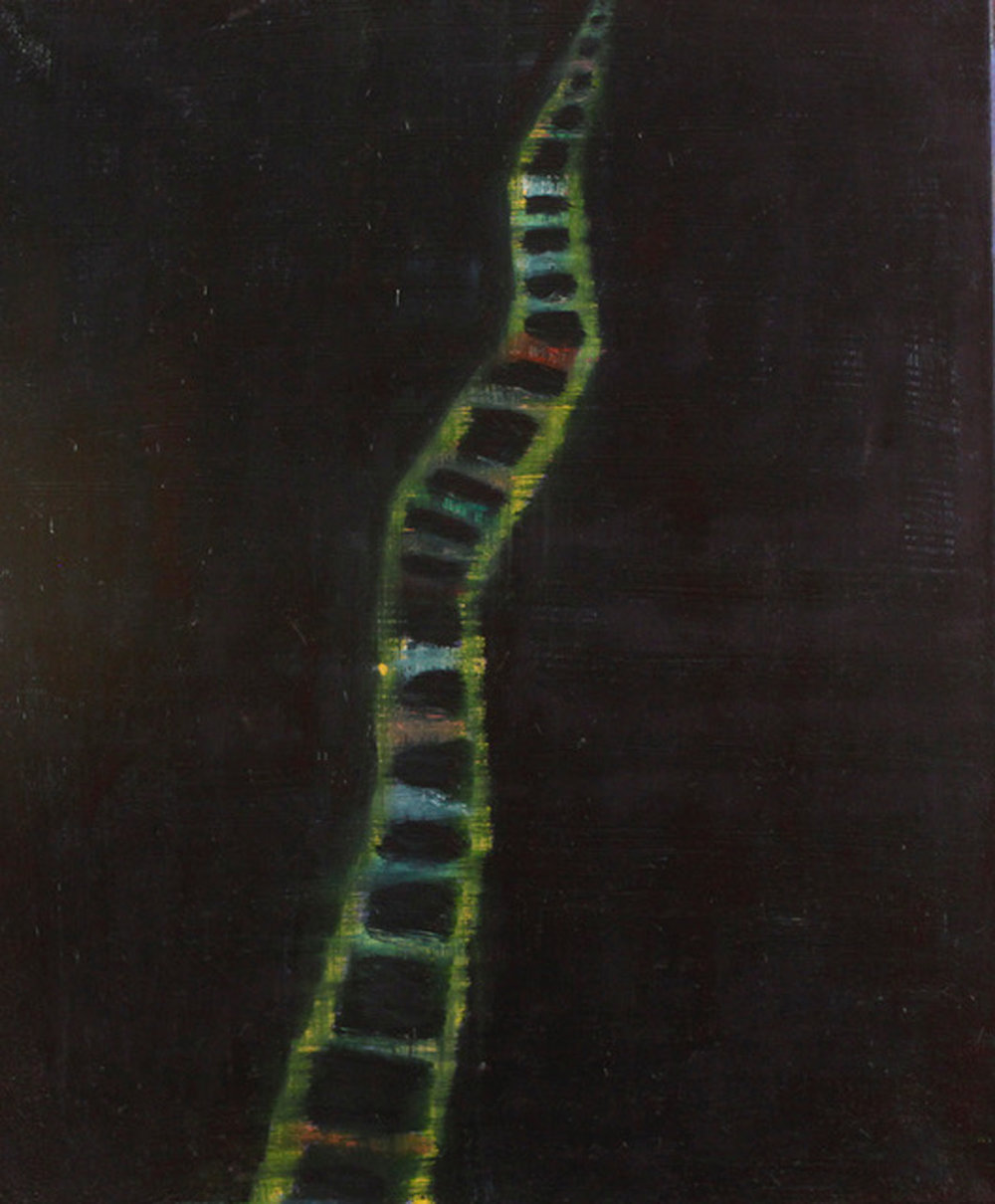 Elisa Jensen,  Ladder  , 2017, oil on canvas, 24h x 20w in