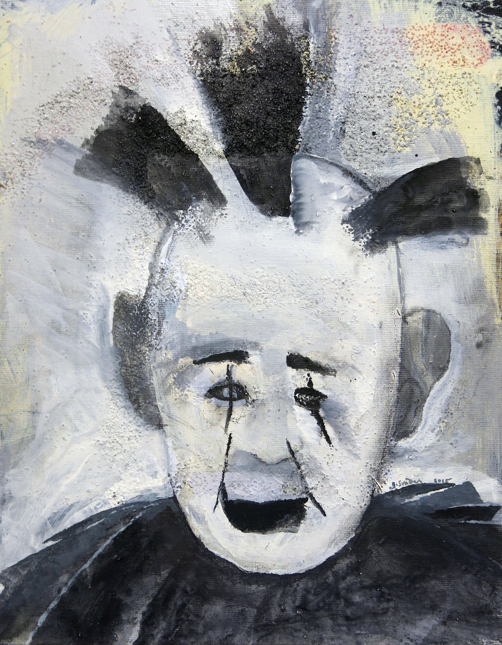 Jenny Snider,  American Clown,  2015, acrylic, graphite, carbon over glitter on canvas board, 14h x 11w in