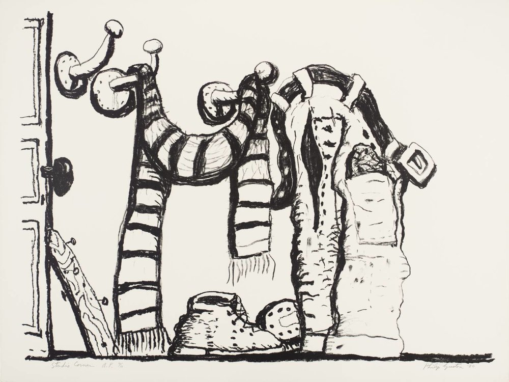 Philip Guston,  Studio Corner,  1980, Lithograph, 32h x 42 1/4w in
