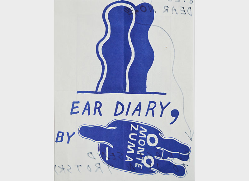 Ray Johnson,  Please Send To Leon Trotsky - Ear Diary, By Monte Zuma,  ca. 1993, Mixed media on paper, 11h x 8 1/2w in