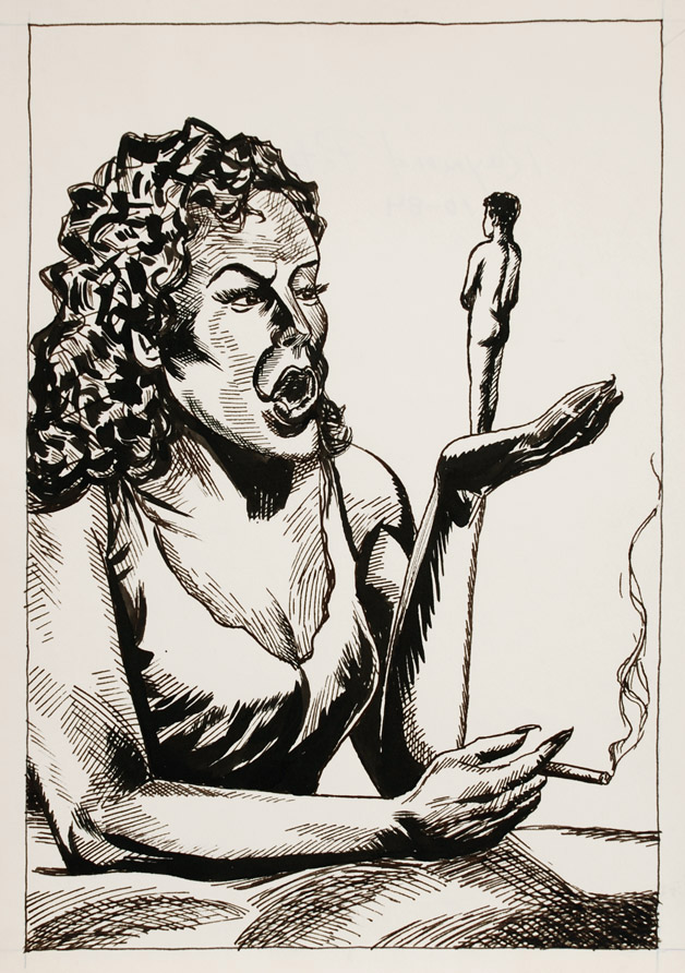 Raymond Pettibon,  Untitled,  1984, Ink on paper, 14h x 10 1/4w in.