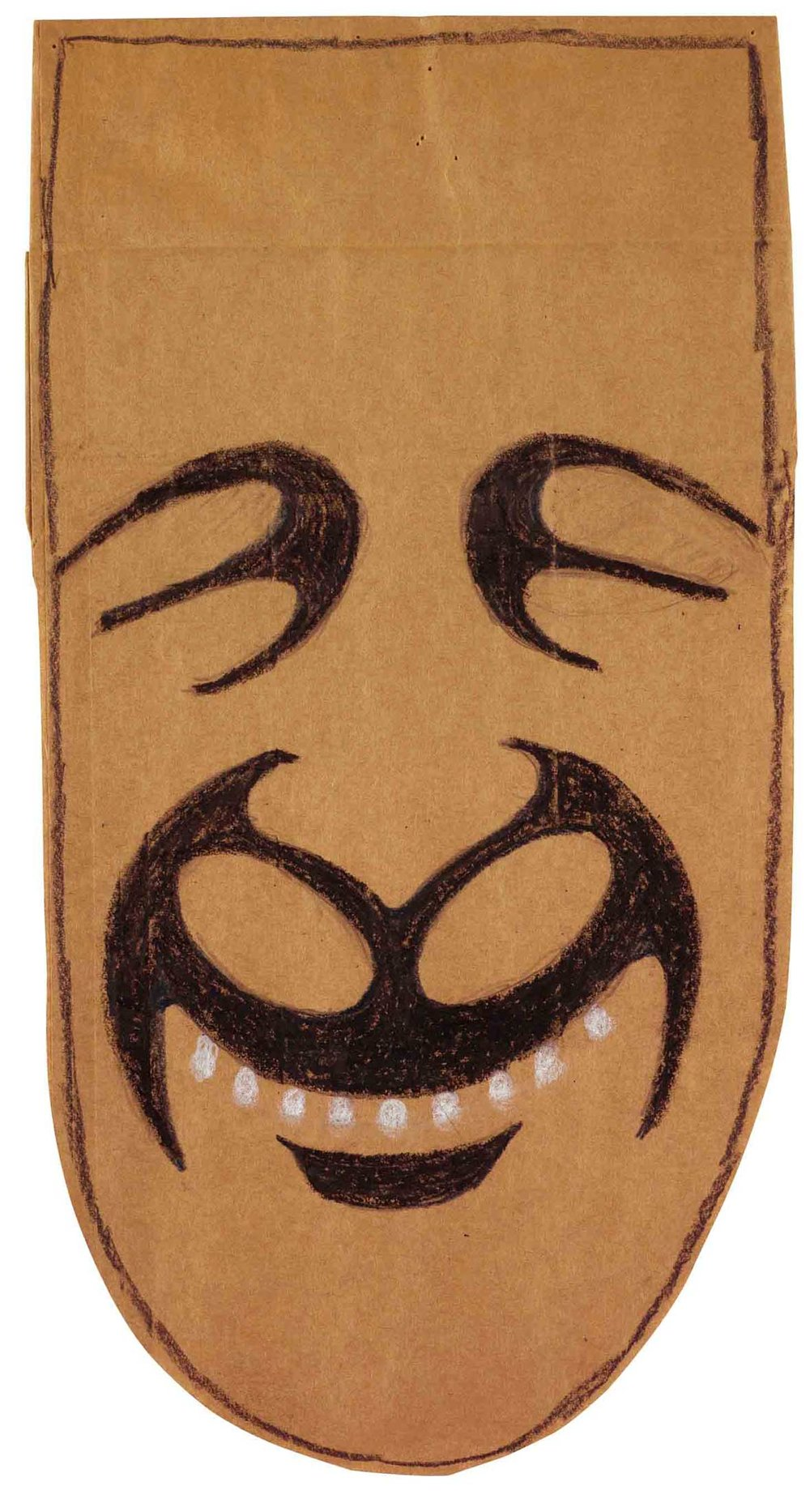 Saul Steinberg,  Untitled,  ca. 1957, Crayon and pencil on cut brown paper bag, 14 5/8h x 7 3/4w in