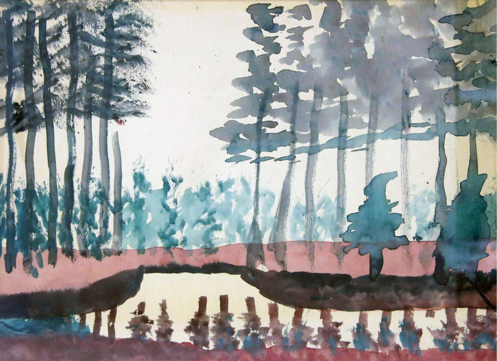 Charles W. Hutson,  Trees near Canal,  c. 1925, Watercolor on paper, 8.75h x 11.5w in