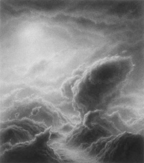 Hilary Brace,  Untitled (#5-02),  2002, Charcoal on mylar, 4.375h x 3.875w in