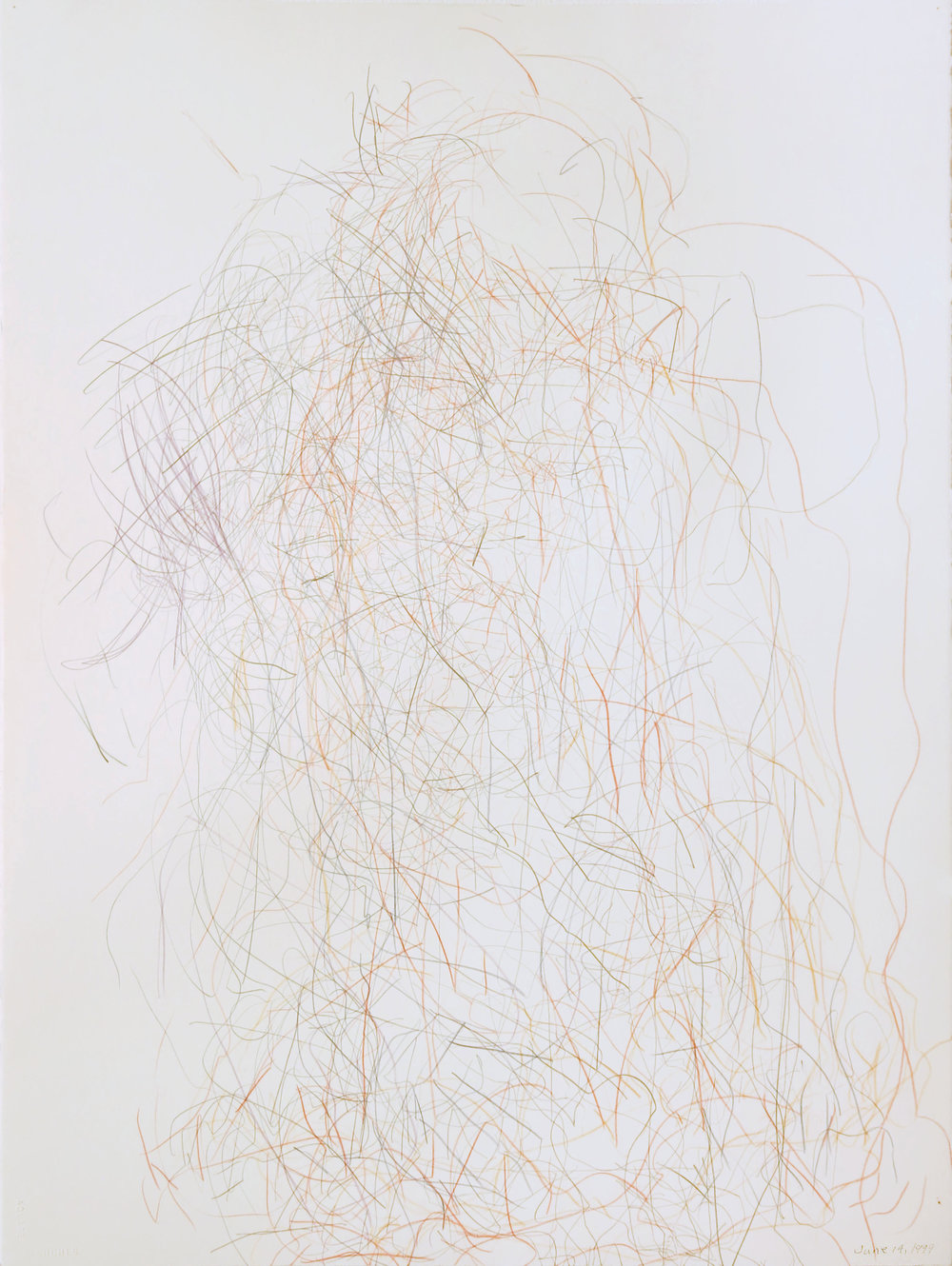 Edward Finnegan,  June 14, 1999 (Portraits series) , 1999, Graphite and colored pencil on paper, 30h x 22.5w in.
