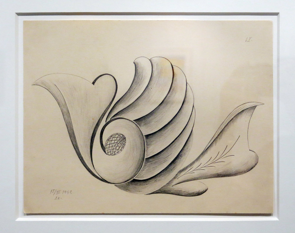 Czech Republic,  Untitled (Anonymous [LI] Mediumistic Drawing) , 1942, Graphite on paper, 8.75h x 11.75w in.