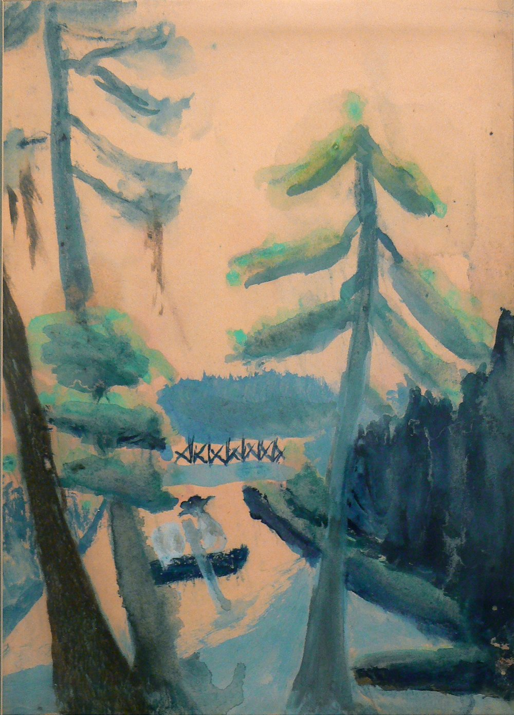 Charles W. Hutson,  Canoe in City Park , c. 1910 – 1920, watercolor on paper, 13.5h x 9.5w in.