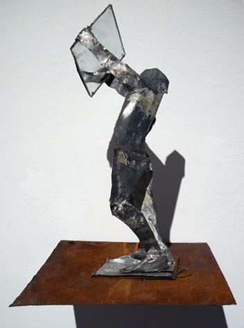 June Leaf,  Woman with Mirror,  2010, Tin and mirror, 17h x 7w x 9d in.