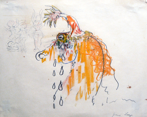 June Leaf,  Crying Horse,  1970, colored pencil & pencil on paper, 8h w 10.25w in.