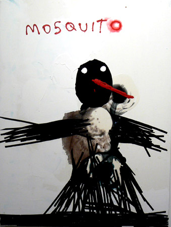 Neil Farber,  Mosquito,  2010-11, mixed media on panel, 40h x 30w in.