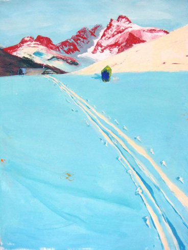 Judith Simonian,  Icy Blue Trail,  2009, Acrylic on canvas, 62h x 54w in.
