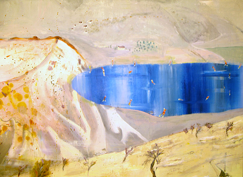 Judith Simonian (with Katherine Bradford),  Montevavello Blue Pond , 2009, acrylic on canvas, 43h x 60w in.