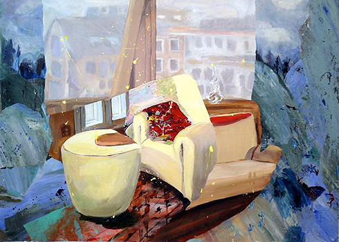 Judith Simonian,  Red Pillow: Cliff on the Interior , 2008, mixed media collage, acrylic on canvas, 50h x 62w in.
