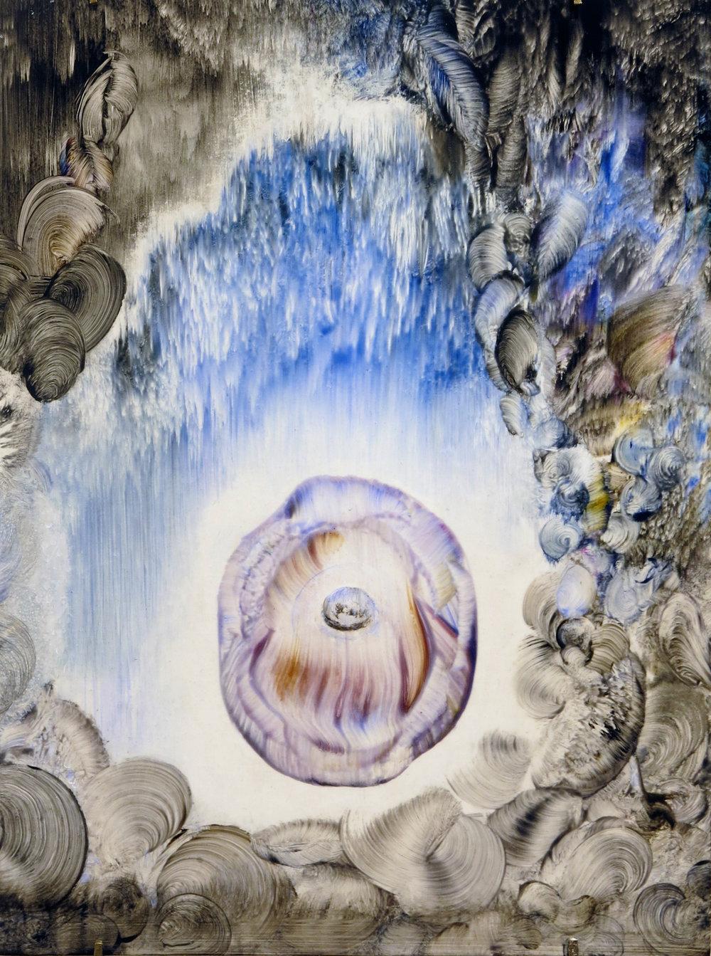 Shawn Spencer, Egg-Eye, 2017, Acrylic on board, 12h x 9w in.