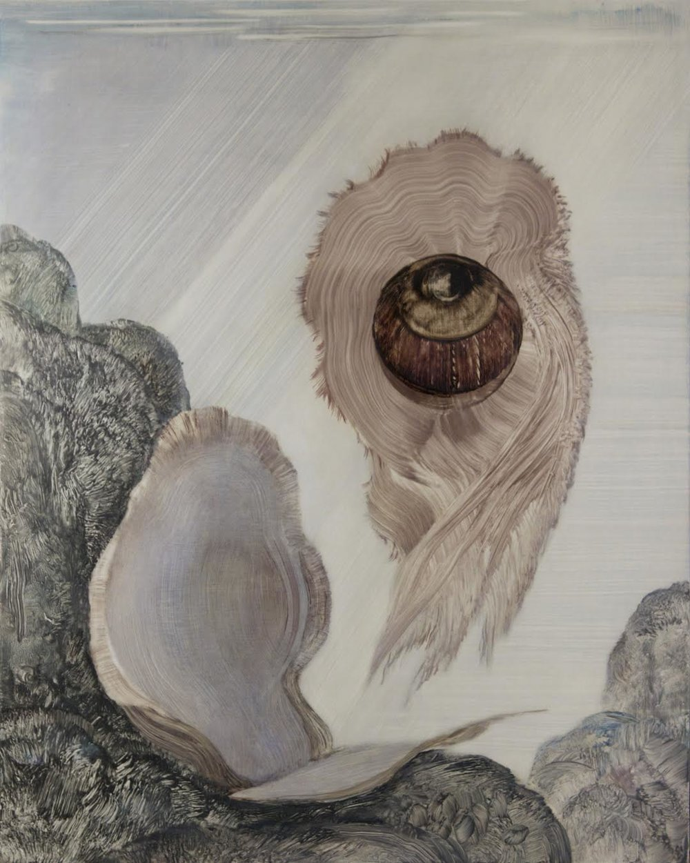Shawn Spencer,  Escaped Mollusk,  2013, Oil on birch panel, 25h x 20w in.