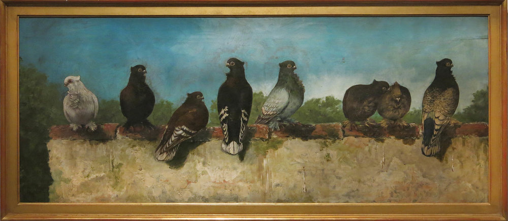 Dezsö Rakssanyi,  Pigeons on a Rooftop,  c. 1900, Oil on canvas, 23h x 52.5w in. (framed)