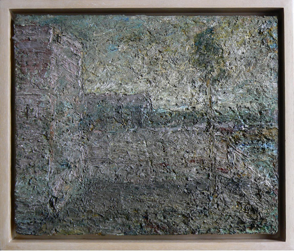 John Lees,  Landscape (for Jerry Alstrop),  1979, Oil on linen, 10.25h x 12.25w in.