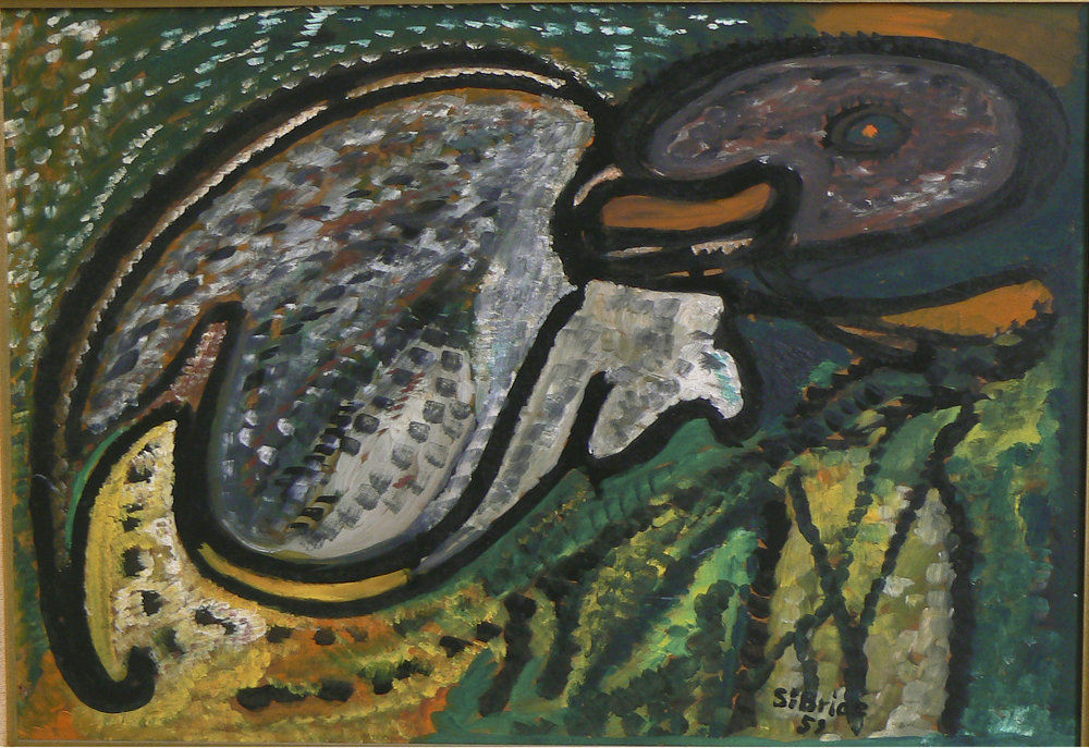 Robert St. Brice,  Monkey , 1959, Oil on masonite, 14h x 20.5w in.