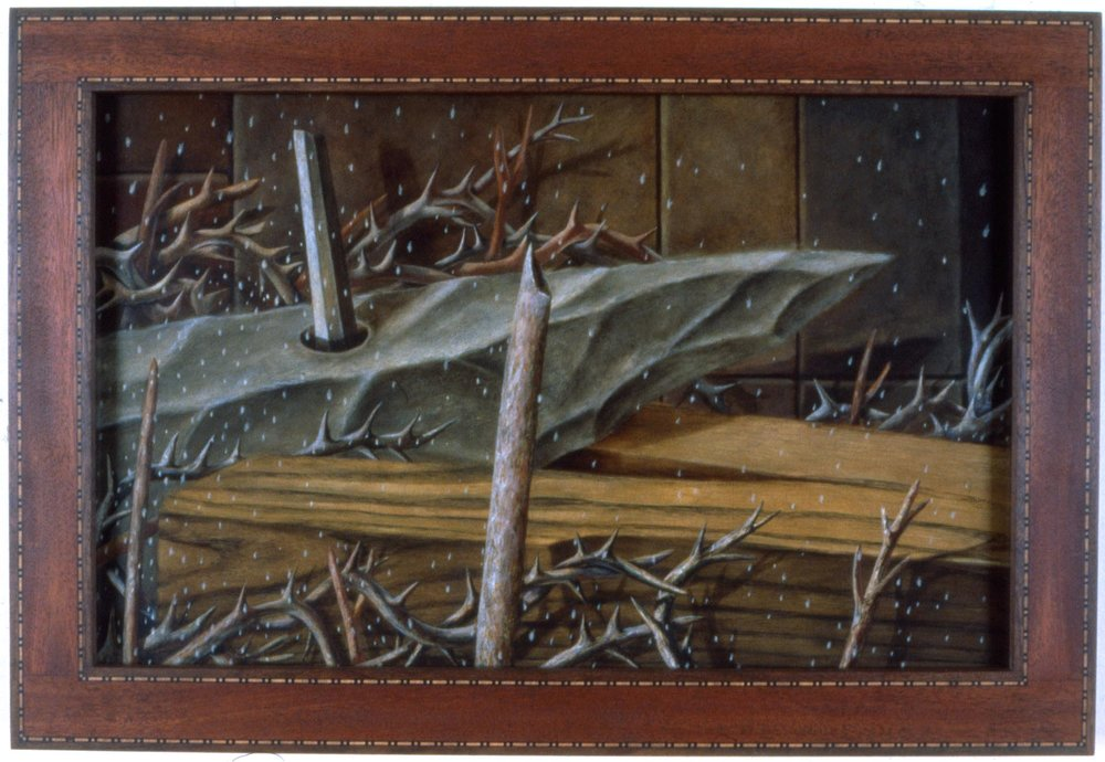 Robert Helm,  Crow's Window,  1990, Oil on panel, wood inlay, 19.5h x 28.75w in.