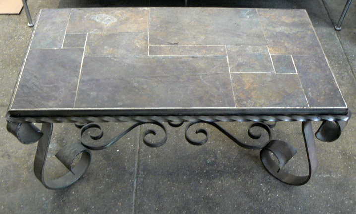 French,  Wrought Iron Side Table with Stone Inlay,  c. 1925, Wrought iron, glazed ceramic tile, 20h x 22w x 16d in.