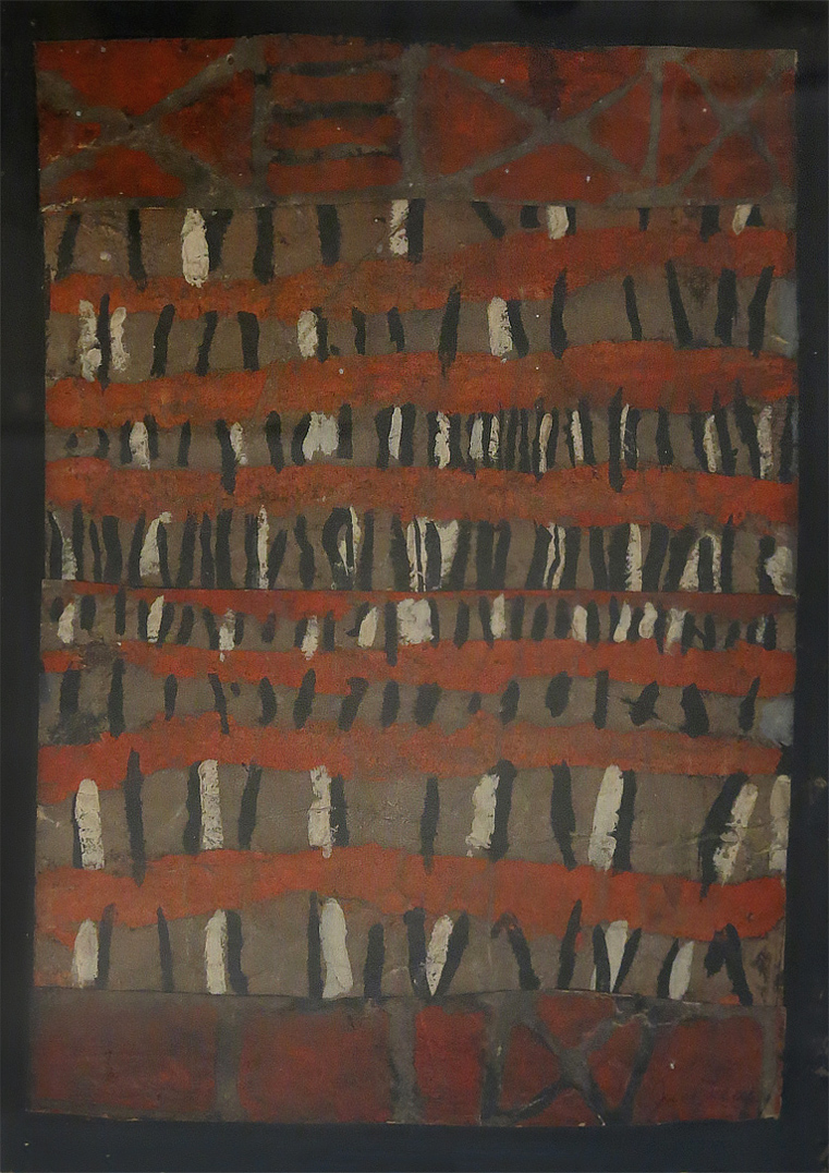 June Leaf,  Red Stripes,  1952, Gouache collage, 13h x 9.75w in.