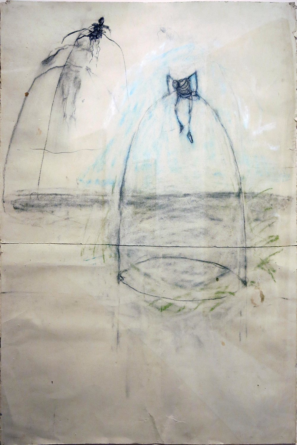 June Leaf,  Untitled,  2007, charcoal, pastel, 38h x 27w in.