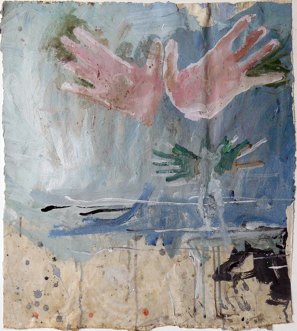 June Leaf,  Untitled (hands),  1999-2000, acrylic on canvas, 22h x 19w in.