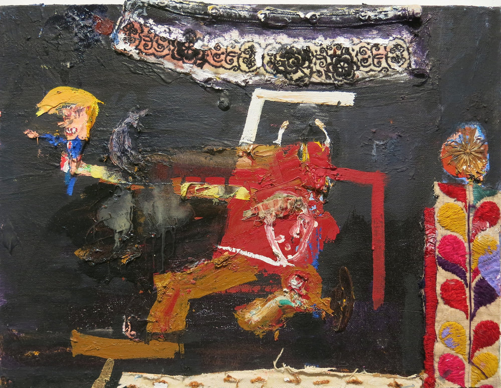 Matt Blackwell,  Trump at the Border,  2015, oil and collage on canvas, 12h x 16w in.