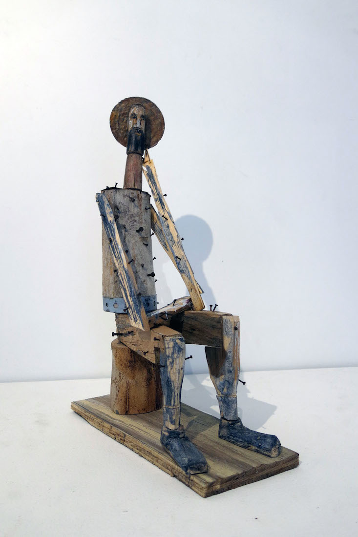 Matt Blackwell,  Job (Santos Figure),  2015, wood, nails, and tin, 16h x 10.5w x 4.75d in.