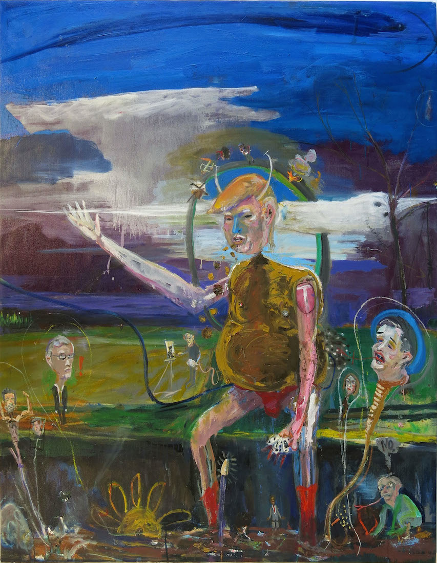 Matt Blackwell,  Trump at the Ditch,  2015, mixed media and oil on canvas, 62h x 48w in.