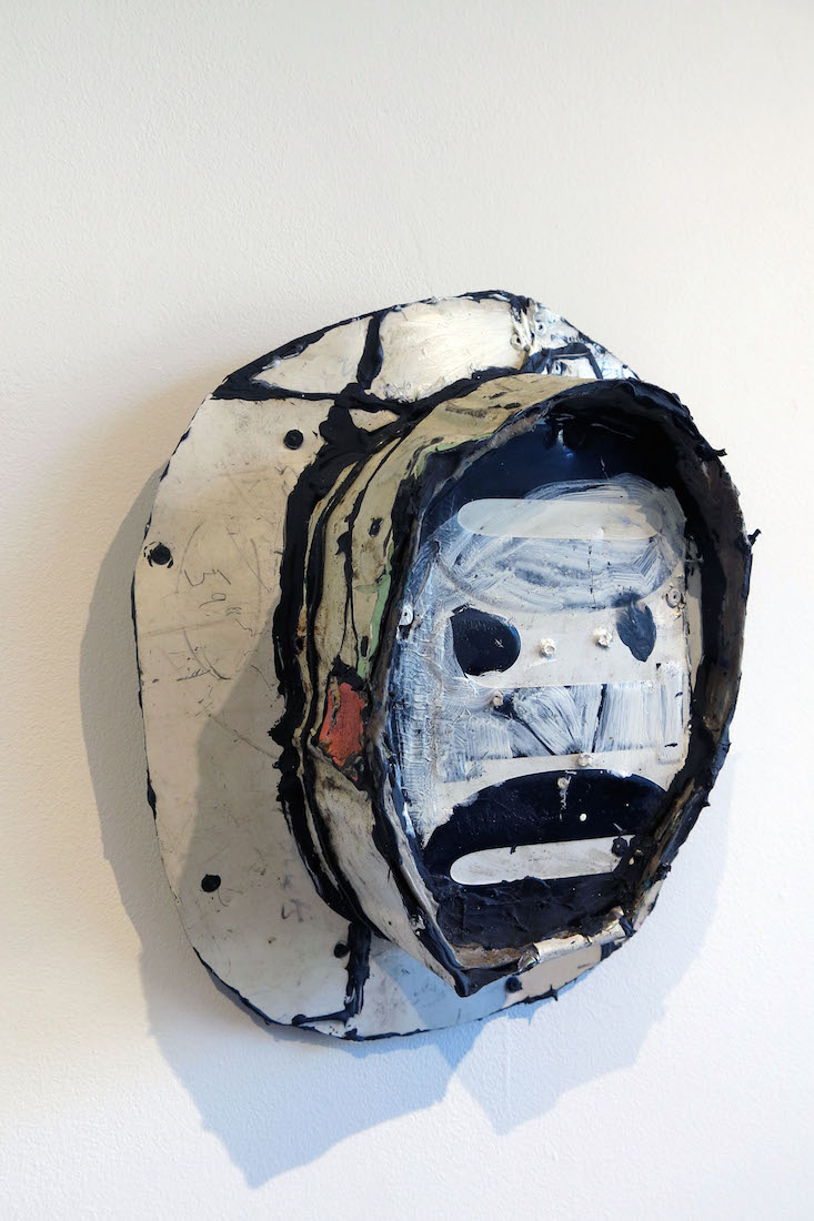 Matt Blackwell,  Jim,  2015, tin, screws, paint, 12h x 10w x 4.25d in.