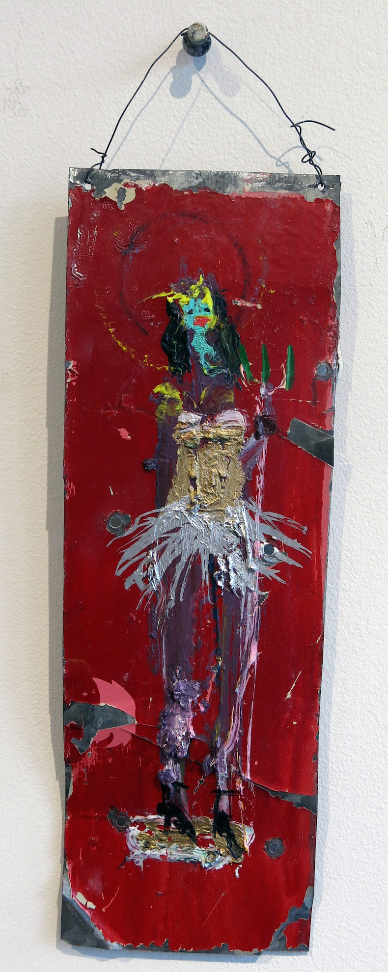 Matt Blackwell,  She Devil (Retablo),  2015, mixed media on tin, 10.75h x 3.5w in.
