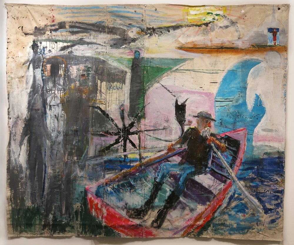 Matt Blackwell,  Sailor and Sirens,  2015, acrylic, oil, pastel on unstretched canvas, 80h x 93w in.