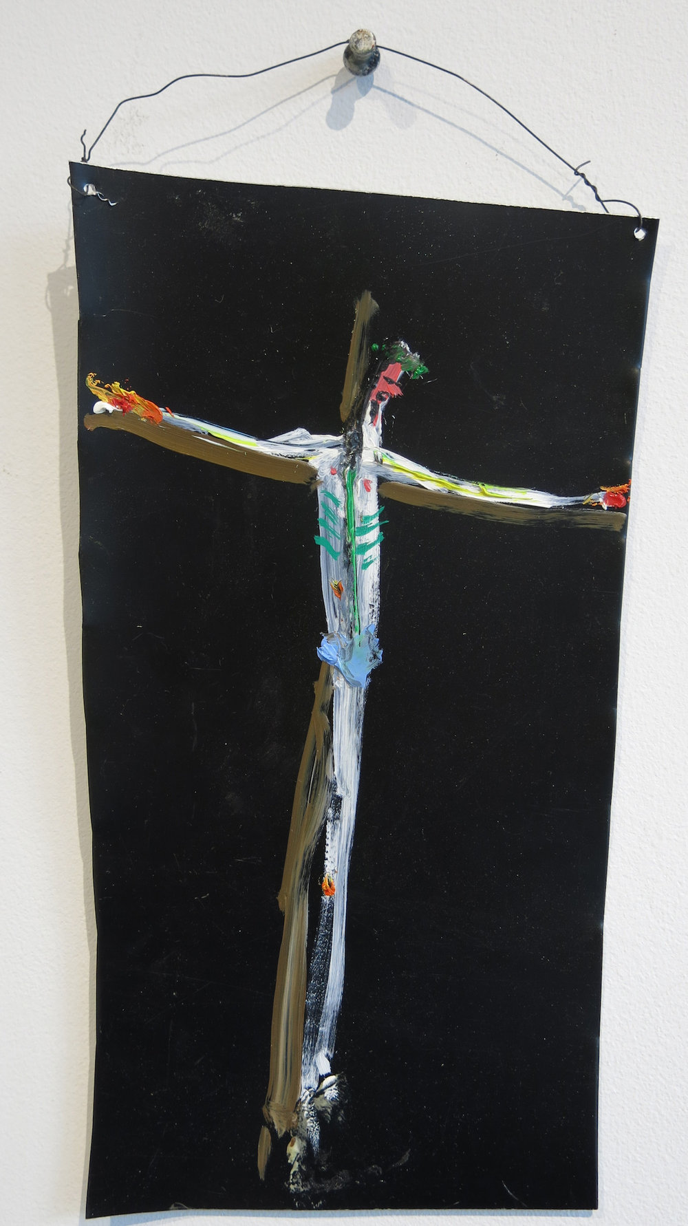 Matt Blackwell,  Sacred Son (Retablo),  2015, mixed media on tin, 11h x 5.25w in.