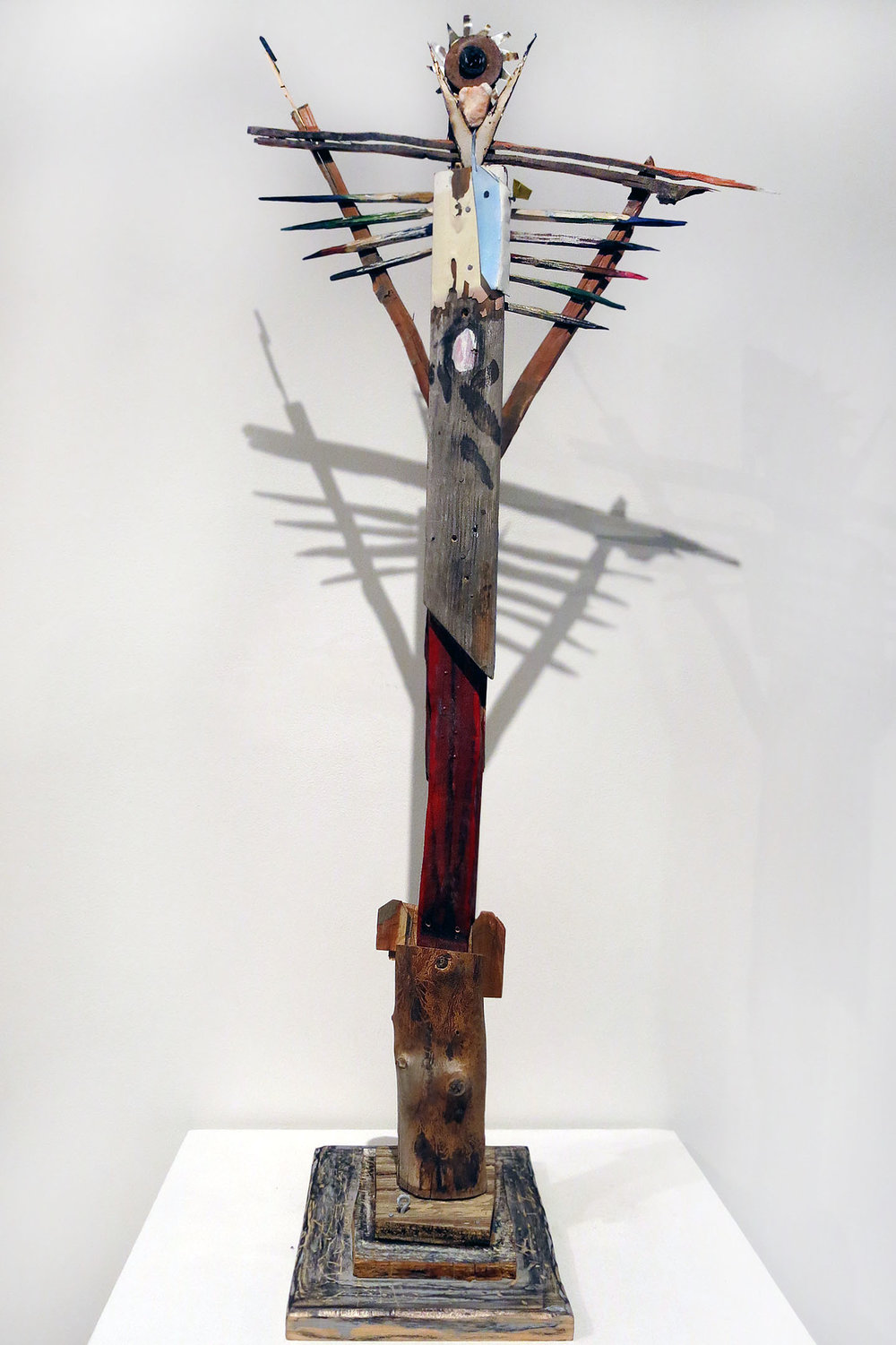Matt Blackwell,  Diety (Santos Figure),  2015, wood, metal, oil paint, ink, 36.25h x 7.125w x 11d in.