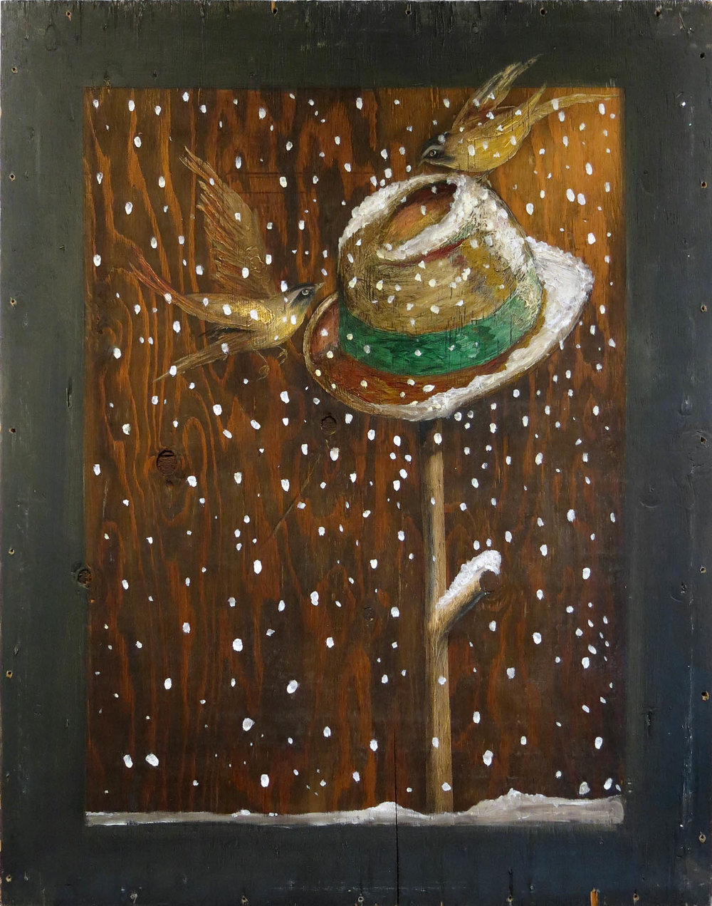 Robert Helm,  Birdfeeder , 1984, oil on wood, 35h x 27w in.