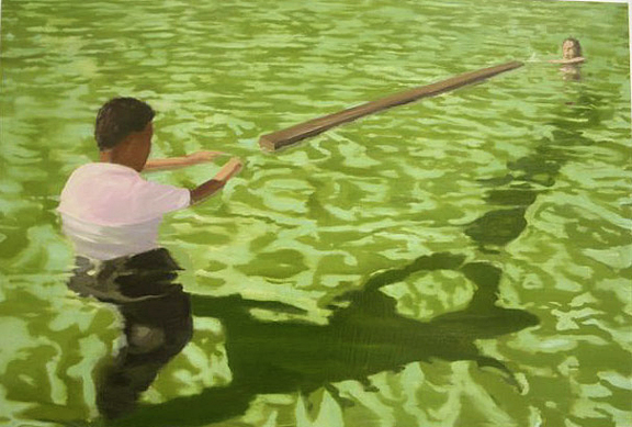 Christopher Brown,  Wader,  2006, oil on board, 30h x 45w in.