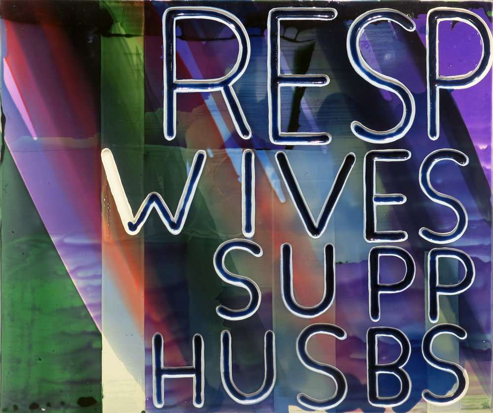 Graham Gillmore,  Resp Wives Supp Husbs,  2015, oil on panel, 24h x 32w in.