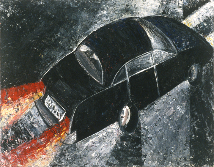 Jenny Snider,  Noir,  1995, oil on canvas board, 20h x 24w in.
