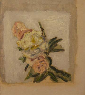 Peter Schmersal,  Flowers III,  1990, oil on canvas on wood, 15 1/2h x 13 1/2w in. (framed)