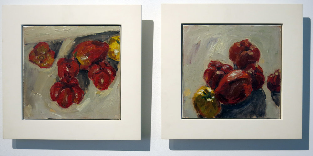 Peter Schmersal,  Coeur de boeuf,  1991, oil on canvas, 2 parts, 11.5h x 11w in; 10.5h x 11w in.