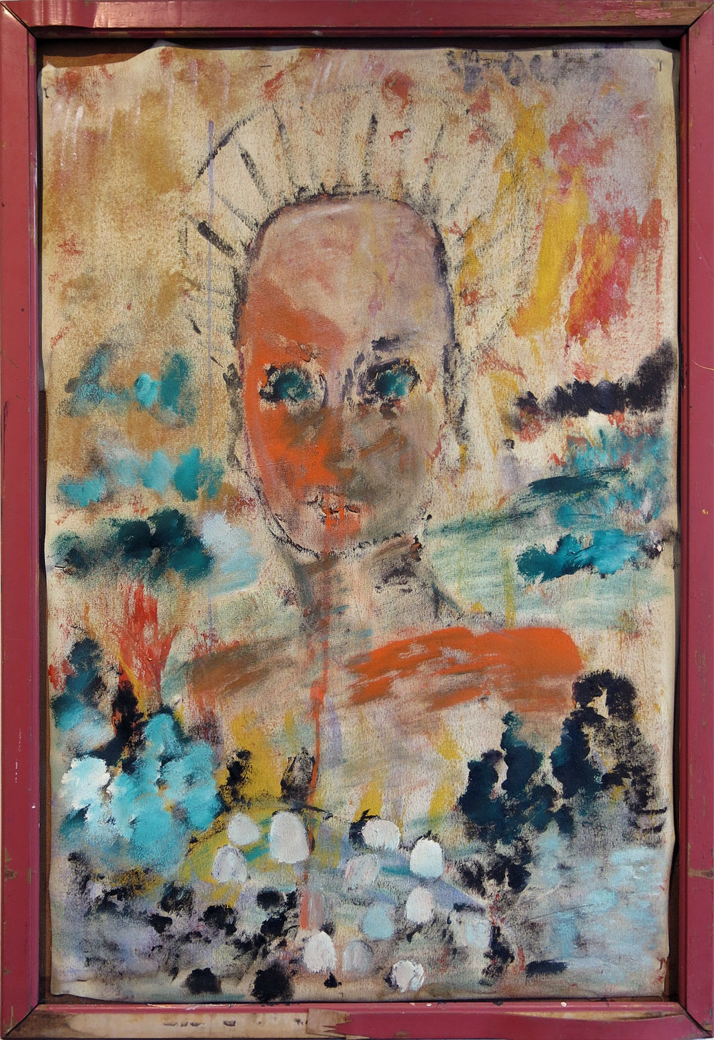 Purvis Young,  Angel,  1992, mixed media on board, 45h x 31w in.