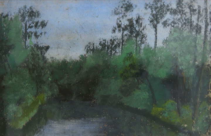 Charles W. Hutson,  Parker's Creek,  c. 1935, pastel on paper, 4.75h x 7.5w in.