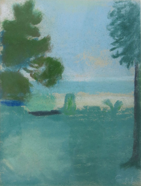 Charles W. Hutson,  Fine Day on the Coast,  c. 1930, pastel on paper, 7h x 5.25w in.