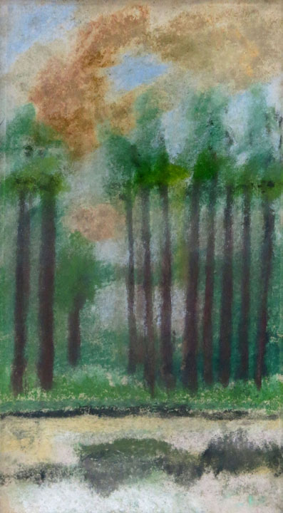 Charles W. Hutson,  Line of Pines,  c. 1910-1920, pastel on paper, 3.25h x 6w in.