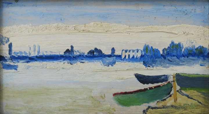 Charles W. Hutson,  Skiffs by River's Edge,  c. 1925-1935, oil on board, 4.75h x 8.75w in.